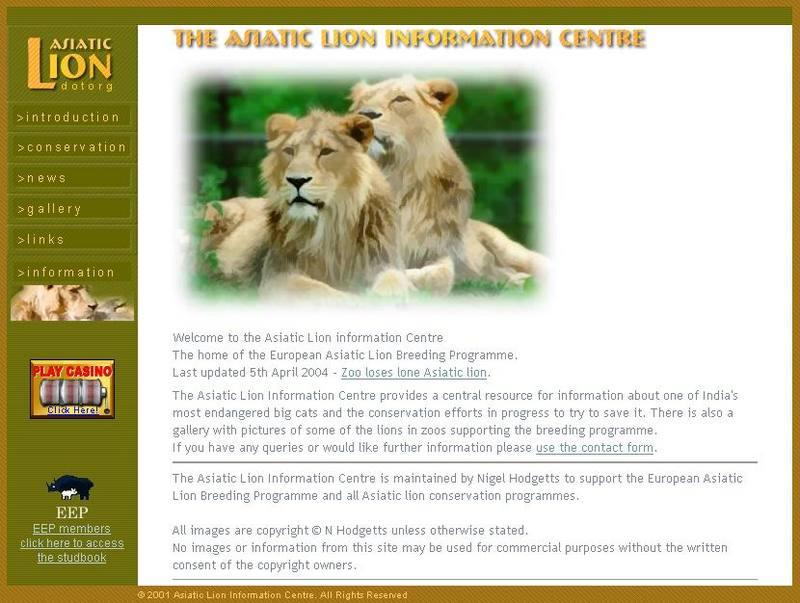 [Website] Asiatic Lion information Centre; DISPLAY FULL IMAGE.