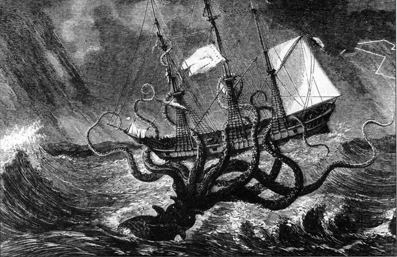 Giant octopus attacks ship; DISPLAY FULL IMAGE.