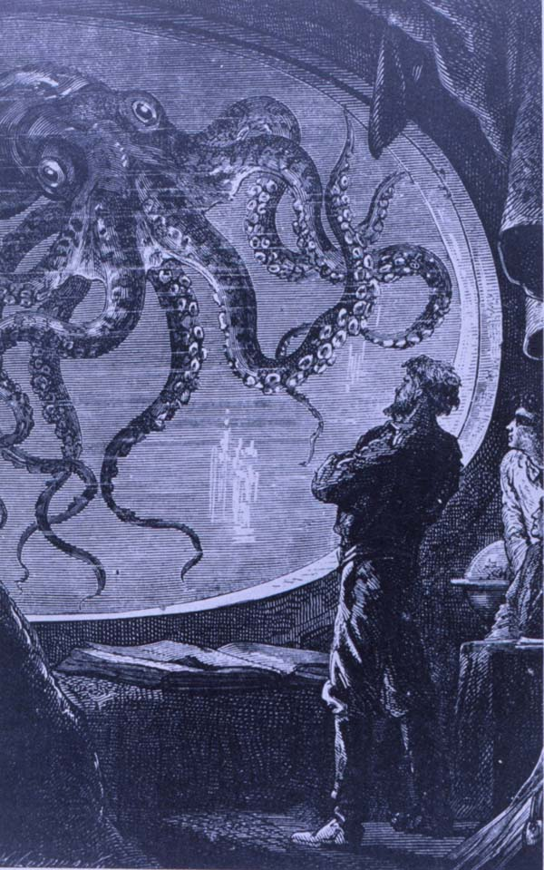 Captain Nemo observing a giant octopus; Image ONLY