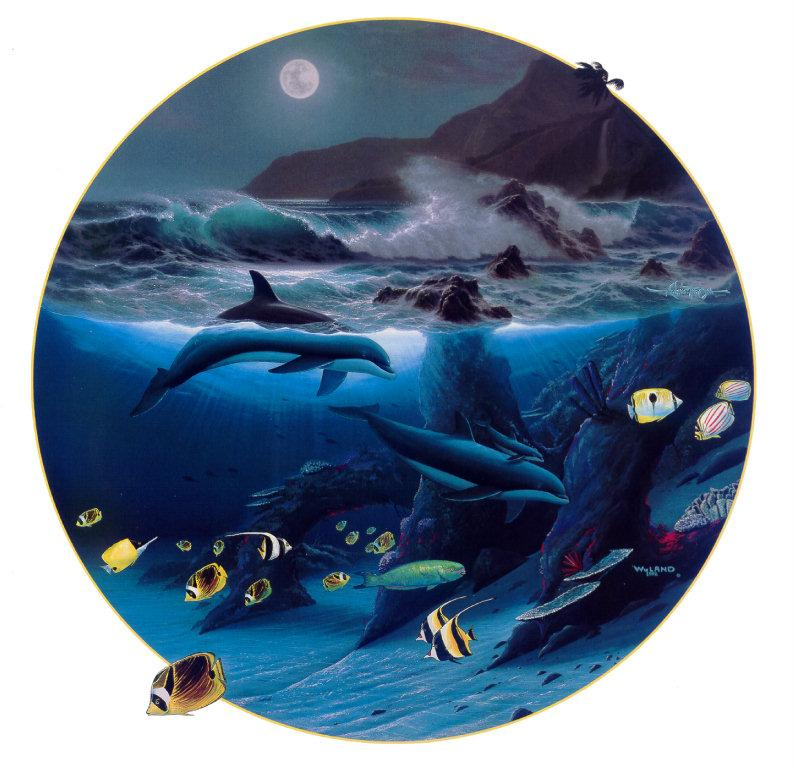 [Animal Art - Robert Wyland & Ray Gonzalez Tabora] Dolphin Moon, 1992; Image ONLY