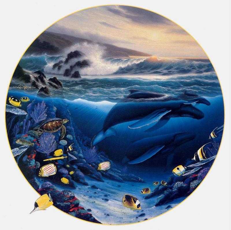 [Animal Art - Robert Wyland & Ray Gonzalez Tabora] Whale Waters, 1992; DISPLAY FULL IMAGE.