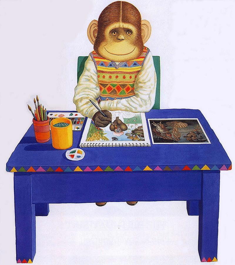 [Animal Art - Anthony Browne] (Gorilla) Willy's Pictures - Willy @ Work; DISPLAY FULL IMAGE.