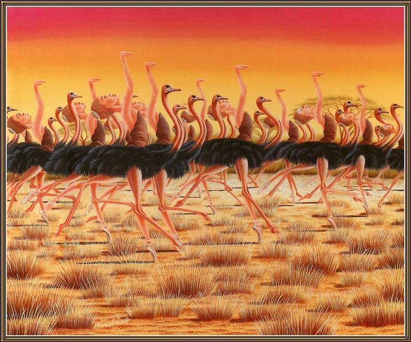 [Animal Art - Aska Warabe] Ostriches; DISPLAY FULL IMAGE.