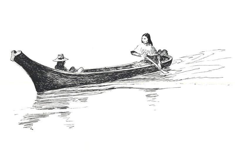 [zFox SWD Scan] The Western Paintings of John Clymer 005 Indian and A Canoe, Sketch; Image ONLY