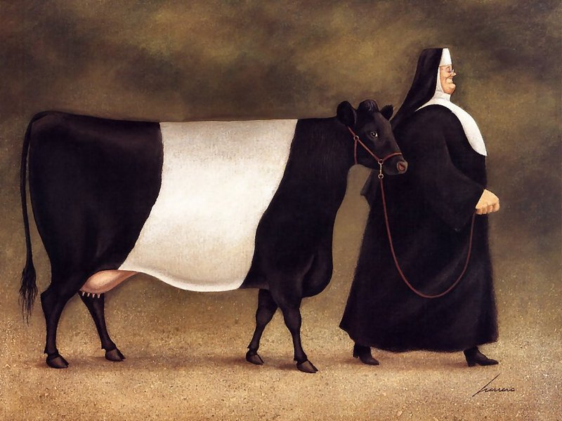 [Animal Art - Herrero Lowell] dutch belted cow; DISPLAY FULL IMAGE.