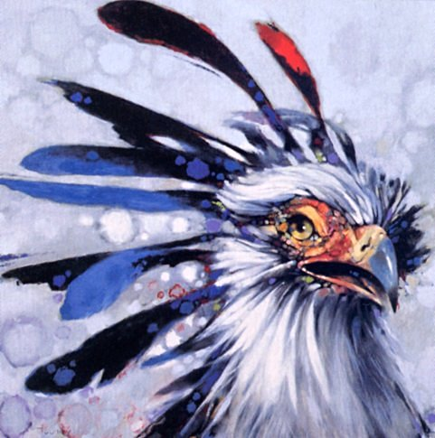 [EndLiss scans - Wildlife Art] Bill Moomey - Secretary Bird; Image ONLY