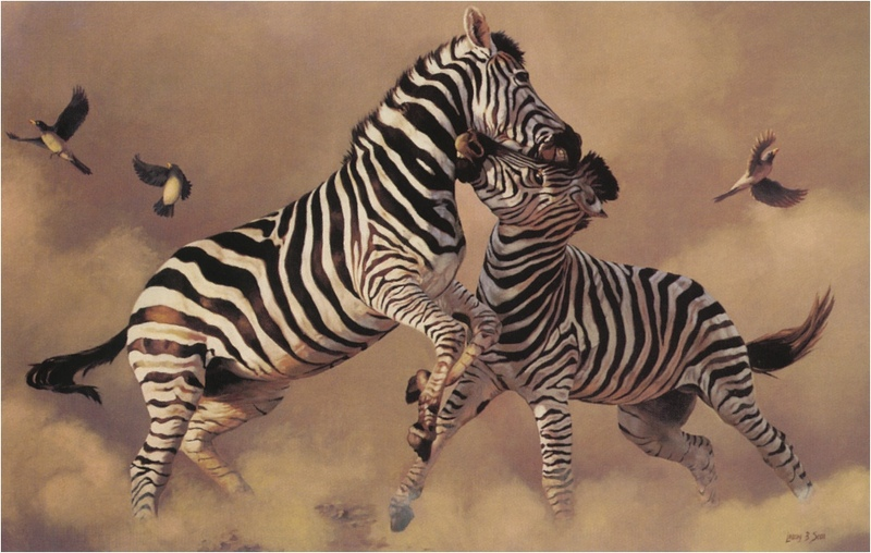 [Elon Animal Scans] Painted by Lindsay B. Scott, Zebras, The Contenders; DISPLAY FULL IMAGE.
