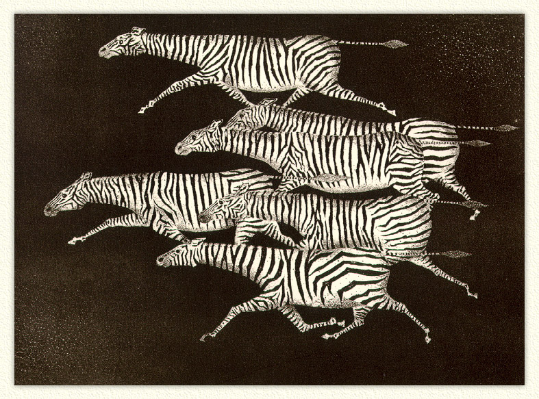 Avati Six Running Zebras; Image ONLY