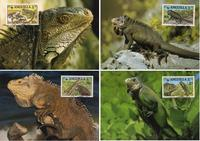 Anguilla West Indian Iguana Set of 4 official Maxicards
