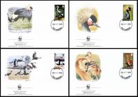Gambia Black Crowned Crane Set of 4 official Maxicards
