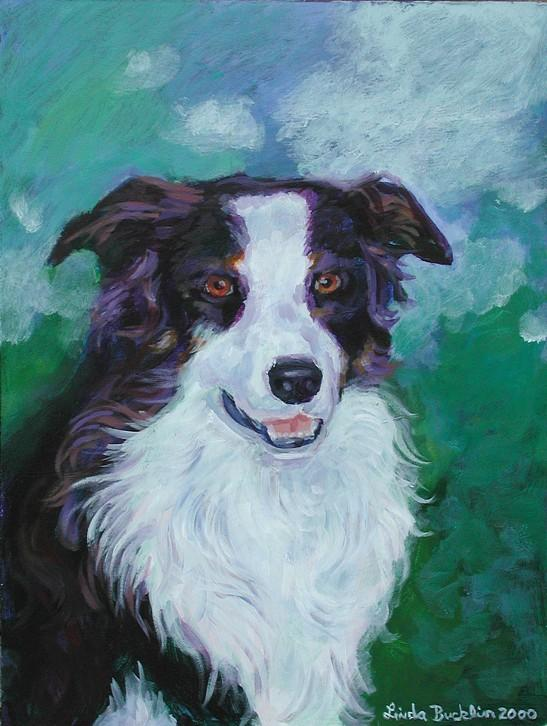 Border Collie painting; Image ONLY